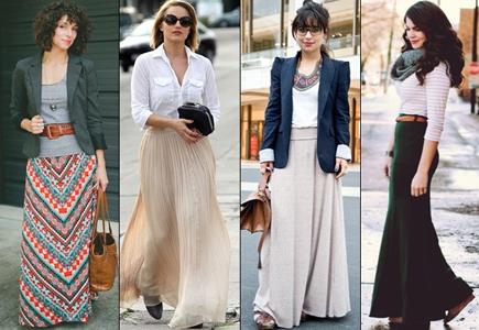 Как носить длинную юбку и пиджак