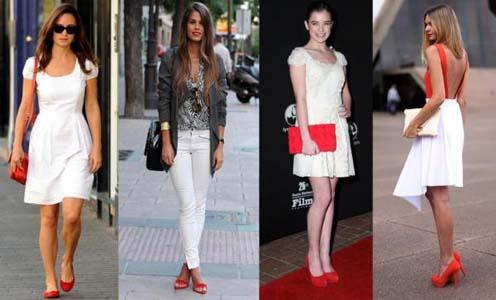Сочетание красных туфель с белым платьем